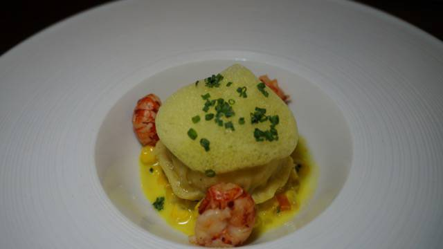 VE Poached chicken egg with corn and crayfish